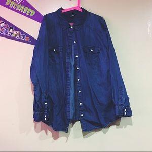 Dark denim button up shirt
